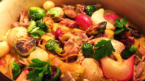Roasted turkey leg salmis.  Picked, with gizzards, turnips, Brussels sprouts, mushrooms and kabocha squash.